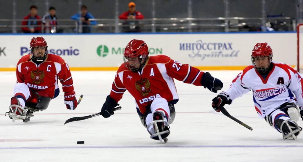 hockey su slittino per disabili