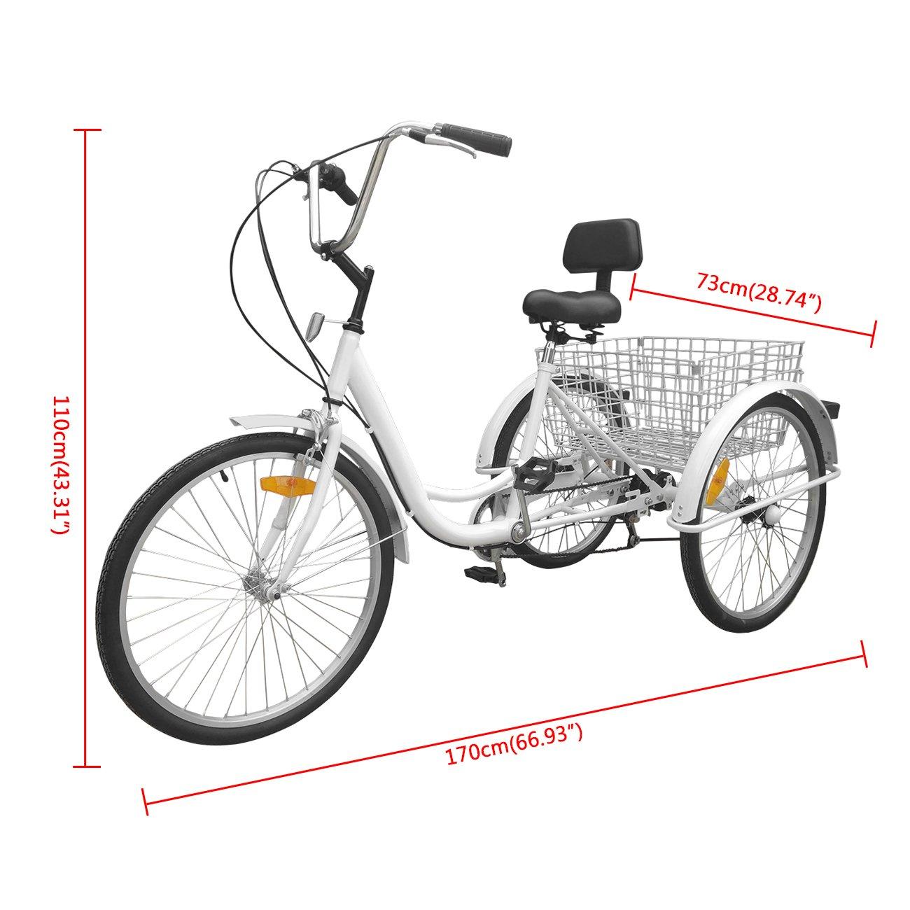 Bici a 3 ruote Urban Paneltech per adulti 6 velocitàe cestino06