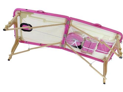 Lettino da massaggio 2 zone legno portatile 12,8 kg richiudibile 05