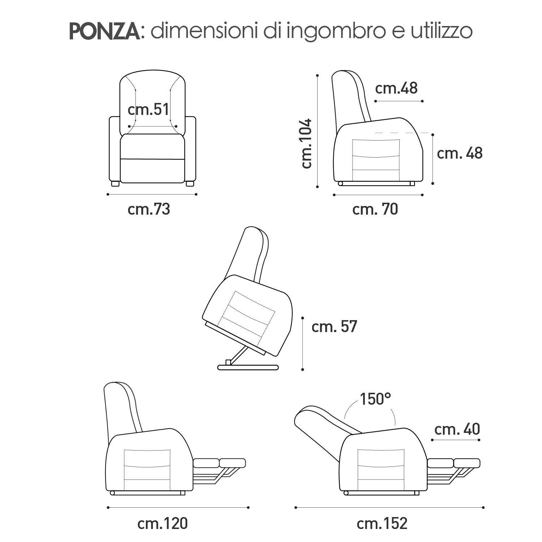 Poltrona alzapersona Ponza Relax, elettrica reclinabile con telecomando 08